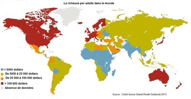 La répartition du patrimoine dans le monde