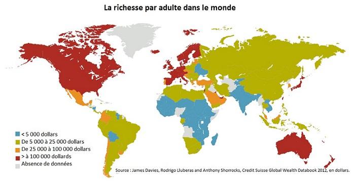 richesse par adulte2 La répartition des richesses dans le monde: à peine croyable